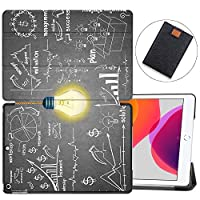 "MAITTAO Case for iPad 10.2 Inch 2019, Microfiber Lining Hard Back Shell with Auto Wake/Sleep, Slim Lightweight Trifold Smart Stand Cover for iPad 7th Generation 10.2"" 2019,Creative Bulb 8"