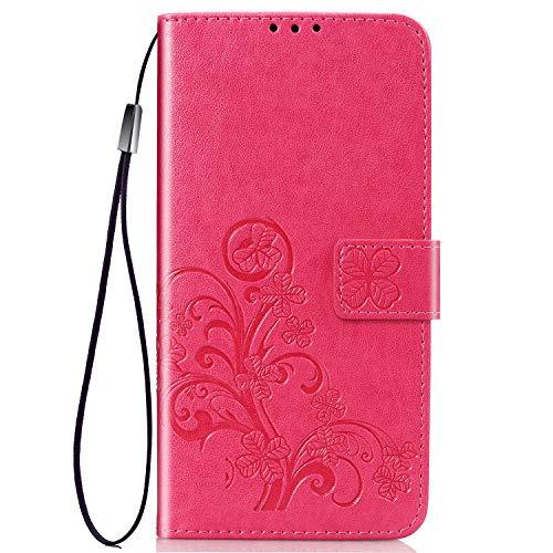 TANYO Hülle Geeignet für Huawei Y6s, Wallet Tasche Hülle, Retro Blumen Muster Design, [Ultra Slim][Card Slot][Handyhülle] Flip Wallet Hülle. Rot