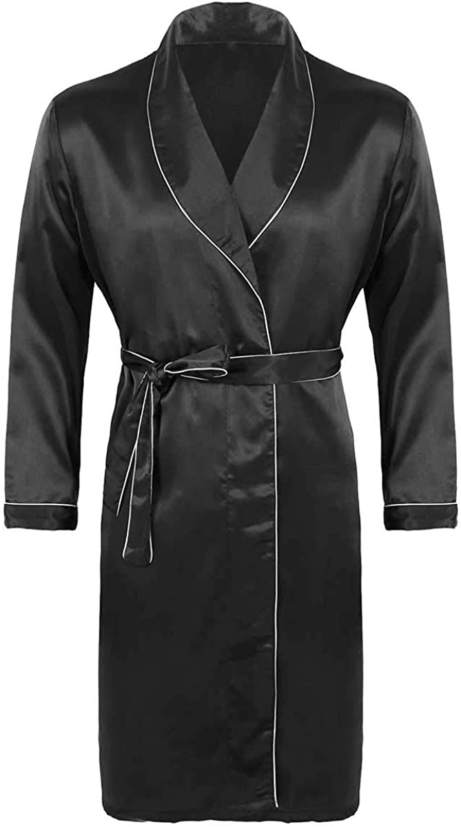 Haitryli Mens Silky Satin V Neck Long Sleeves Bathrobe Nightgown Pajamas Set Casual Kimono Robe Loungewear Sleepwear