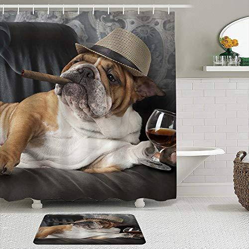 AYISTELU Duschvorhang Sets mit rutschfesten Teppichen,Funny Dog Cute Pet Brown Bulldog mit Zigarre & Champagner, Badematte + Duschvorhang mit 12 Haken