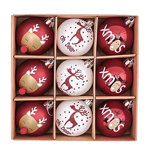Weihnachtsbaum Kugeln,Christbaumkugeln groß,Christbaumkugeln Kunststoff mit Hirsch Thema Rot,Plastik Ornament Weihnachten,Kunststoff Weihnachtsschmuck,Weihnachtsschmuck Größen,Weihnachtsbaumschmuck