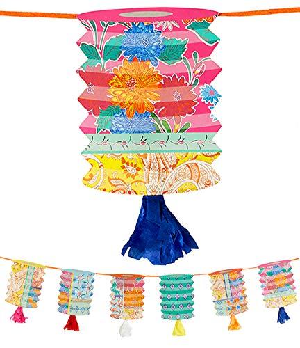 Talking Tables- Guirnalda de farolillos de Papel borlas-3m |Decoraciones Brillantes para cumpleaños, Fiesta, celebración China, jardín de Verano, Color (BOHO-GARLAND-LANT)