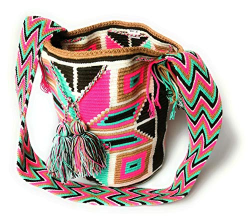 Wayuu sudamericano brillante colorido tejido mano ganchillo bolso de hombro Mochilla