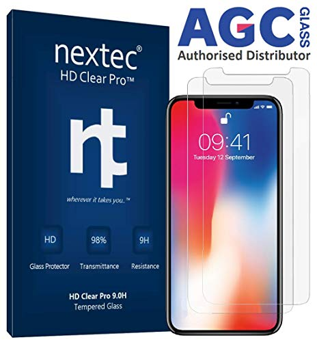 nextec iPhone XR Screen Protector Glass, (2 Pack) Apple iPhone XR Tempered Glass Screen Protector iPhone XR (HD Clear Pro 9.0H) 3D Touch/Case Compatible - AGC Glass