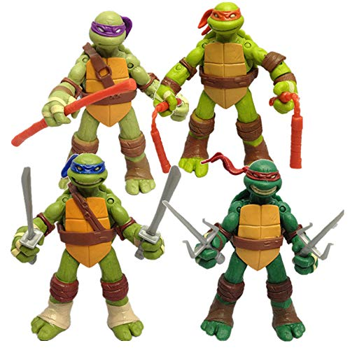 TREEMEN Ninja Turtles Actionfiguren Sets,Teenage Mutant Ninja Turtles Actionfigur Anime Charakter Modell Spielzeug für Kinder Geburtstag Sammlung,12cm(4.8in)
