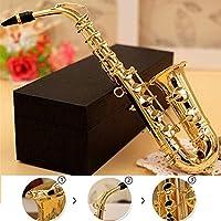 ACHICOO ミニサックスモデル 楽器ミニチュア 楽器銅ブローチ デスクインテリア ディスプレイボックス付き ブラケット付き