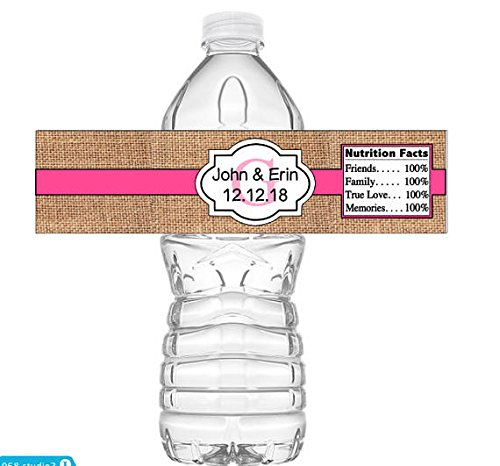 """Set of 5 Burlap Wedding Water Bottle Labels - 100% Waterproof Labels Personalized Party Favors 2""""x8"""" self-stick labels - Personalized"""