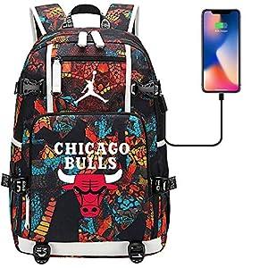 51iiOqlzkYL. SS300  - GXB Mochila Deportiva Multifuncional Baloncesto Fan Schoolbag Travel Rucksack NBA Chicago Bulls No. 23 Michael Jordan Estilo A
