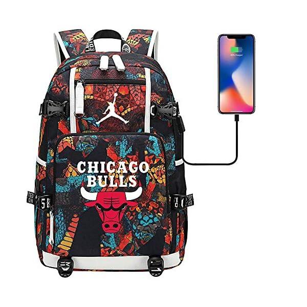51iiOqlzkYL. SS600  - GXB Mochila Deportiva Multifuncional Baloncesto Fan Schoolbag Travel Rucksack NBA Chicago Bulls No. 23 Michael Jordan…