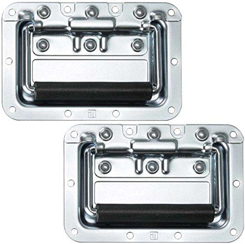 Adam Hall Hardware 34082 M2 AH - 2er Set Klappgriff/Kistengriff gefedert silber in 8 mm Einbauschale