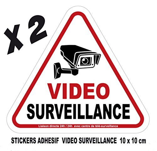 Camera Video Surveillance lot 2 Stickers adhesif 10x10cm Avertissement signalisation