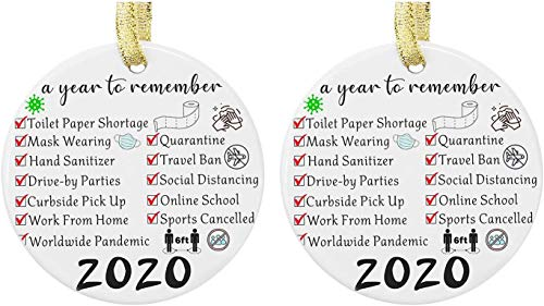 Christmas Ornament 2020 Quarantined, Personalized Christmas Tree Ornaments Christmas Decorations Creative Gift Pendant for Home Indoor Decor (2pcs)