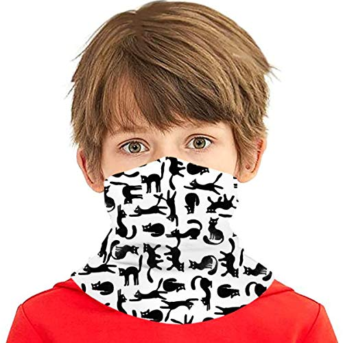 UNSUWU Cat Pizza Summer Neck Gaiters for Kids, Washable Reusable Face Mask Cover Bandana Balaclava for Boys Girls Teens, Breathable Cool Lightweight