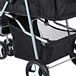 Yonntech Pet Travel Stroller Foldable Cat Dog Pushchair Trolley Puppy Jogger Buggy Dog Carrier Maximum Weight 15Kg with Cup Holders Storage Basket Three Wheels (Black) 16