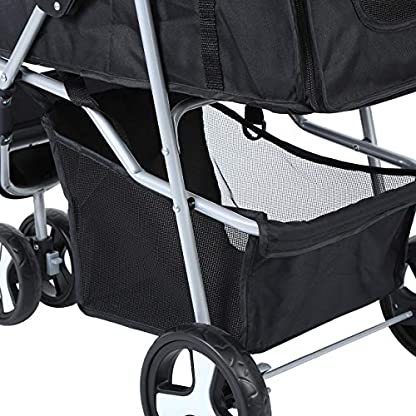 Yonntech Pet Travel Stroller Foldable Cat Dog Pushchair Trolley Puppy Jogger Buggy Dog Carrier Maximum Weight 15Kg with Cup Holders Storage Basket Three Wheels (Black) 7