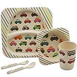 5-teiliges Bambus-ESS-Set für Kinder. Kinder Teller, Schüssel, Becher, Messer und Gabel - Autos Entwurf