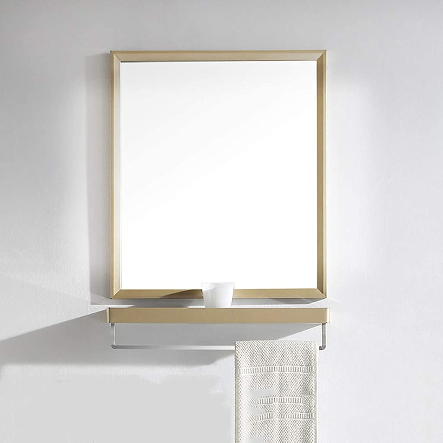Bathroom mirror with Shelf Stainless Steel Champagne wash Makeup Mirror bathroom mirror Wall Hanging Side Cabinet