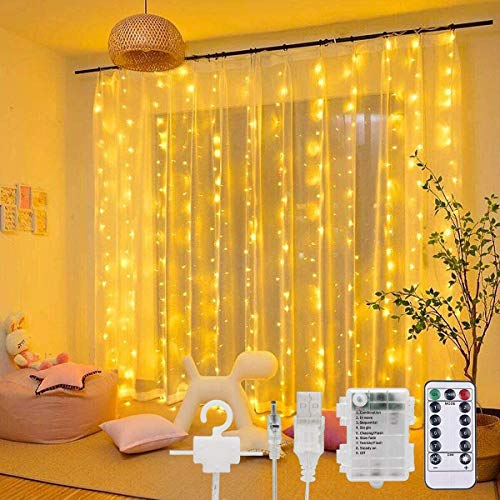300 LED Curtain Lights - 3M Fairy String Lights 8 Modes USB&Battery Powered Window Lights with 10 Hooks Waterproof Remote Control String Light for Bedroom Party Garden Gazebo Decoration(Warm White)
