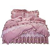 Falda de cama Set de 4 piezas Falda de cama Falda de engrosamiento de colchas Hoja de cama ajustada suave y cómoda, fácil de cuidar con cobertura de almohadas Cubierta A, 1.8 * 2.2M Falda de cama