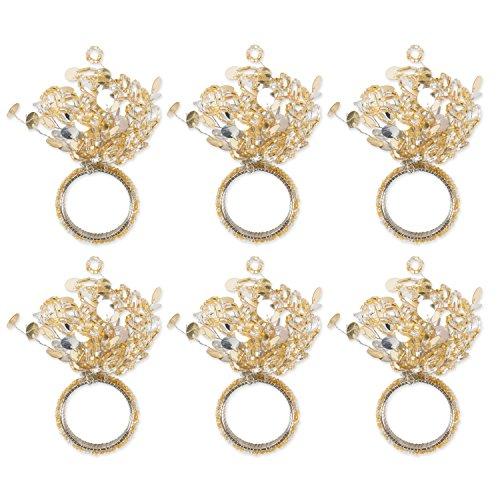 DII CAMZ10671 Napkin Rings, Set of 6, Beaded Sparkle Gold