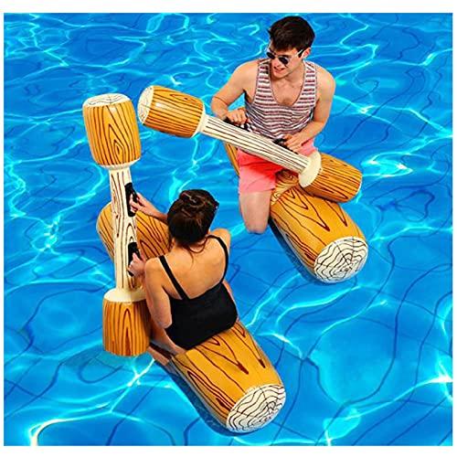 GONGYING 4 Stück Aufblasbare Pool Fighting Float Row Spielzeug Battle Log Flöße für 2 Spieler Erwachsene Kinder Sommer Pool Party Wassersport Spiele Float Spielzeug Schwimmbad Wasserspielzeug