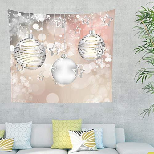 O3XEQ-8 Weihnachtsstern Musterdruck Tapisserie Hippie Vielseitigkeit Picknickdecke - Beleuchtung für Boss Geschenk White 150x130cm