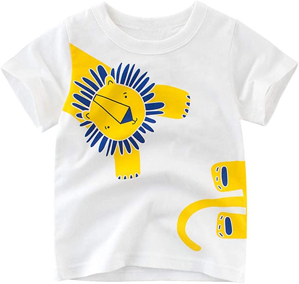 JUNOAI Toddler Little Boys Clothes 3-Pack Short Sleeve Crewneck T-Shirts Top Tee Size for 2-6 Years