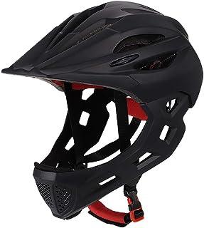 XYL Fahrradhelm Kind Vollüberzogener Gesichtsschutz Abnehmbar Geeignet für Laufrad Radfahren Motocross MTV BMX Atmungsaktiv Sicherheit Multicolor,allblack