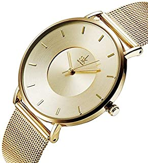 Women Simple Mesh Bracelet Watch Girl Stainless Steel Band Analog Watches