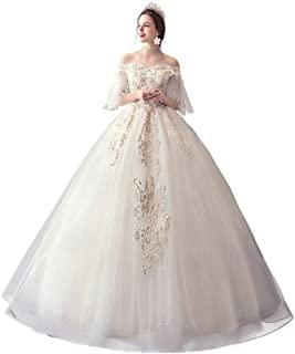 Bride Off Shoulder Lace Wedding Dress Elegant Tulle Prom Gown Formal Party Fluffy Skirt beautiful