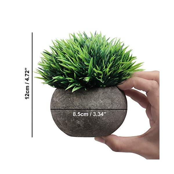 Mini Macetas Plantas Artificiales (Pack de 4) – (12 x 8,5cm) Multicolor Planta Contienen 2 Verdes, 1 Blanca y 1 Purpura…