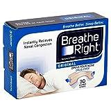 Tiras nasales Breathe Right naturales, tamaño uniforme, 30 unidades por paquete (2 paquetes)