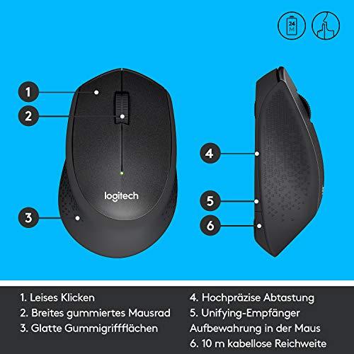 Logitech M330 Silent Plus, Kabellose Maus, 2.4 GHz Verbindung via Nano USB-Empfänger, 1000 DPI Optischer Sensor, 24-Monate Akkulaufzeit, 3 Tasten, PC/Mac – Schwarz - 6