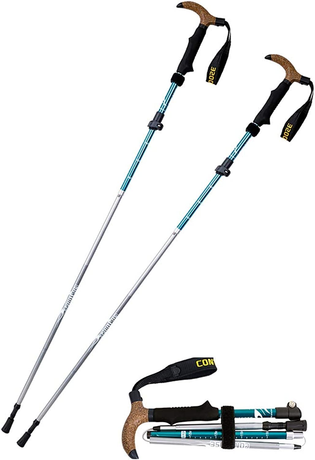 ROCKFEATHER Trekking Poles Collapsible Lightweight WearResistant CorrosionResistant Carbon Tip Quick Lock Comfortable with ShockAbsorbent,THandle,2PCS,Accessories and Carry Bags