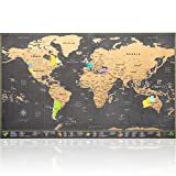 Scratch Off World Map Large - Ultra detailed with all U.S States - Accessories Kit and Gift Tube - 70 x 42cm - Deluxe Cartographic design by Atlas&Green