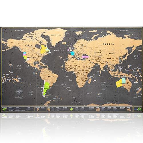 Mappa del Mondo da grattare - Ultra dettagliata con tutti gli Stati Uniti - Kit di accessori e tubo porta mappa in regalo - formato 70 x 42 cm - Design cartografico Deluxe di Atlas&Green