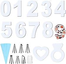 19 قطعة قوالب كيك رقم 0-9، قوالب كوكيز على شكل قلب وحلقات، أدوات تزيين استنسل الكعك، قوالب الخبز مع 8 قطع من أكياس الأنابي...