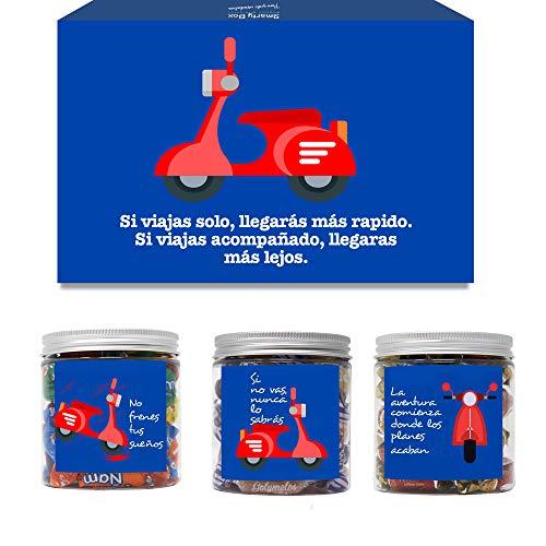 SMARTY BOX Caja Regalo Chuches Original Cumpleaños Amigo, Pareja, Novio, Caramelos y Gominolas Cesta Golosinas Regalo Chucherías con Mensajes Dulces sin Gluten, Fabricado en España