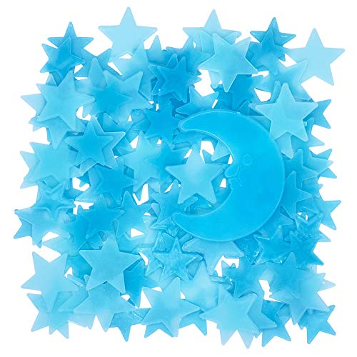 Glow in The Dark Stars for Celling, Glowing Stars Wall Decals, 150pcs Blue Plastic Stars Wall Sticker and A Moon Decor, Removable Murals Decals for Kids Girls Bedding Room Decorations