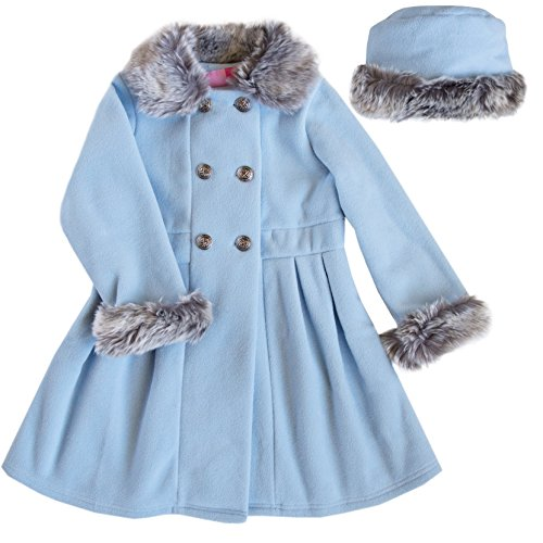 Good Lad Blue Double Breasted Fleece Coat with Fur Collar and Cuffs and Matching Hat (2T)