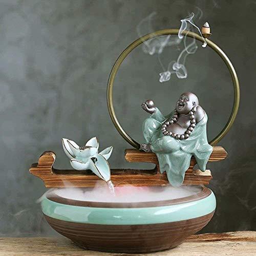 KEKEYANG Adornos de decoración de Escritorio Creativa Suerte Feng Shui a su Vez Fuente de Agua adecuados for el hogar y también adecuados Fuente Interior (Color : B)