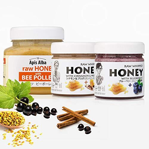 【Amazon.co.jp 限定】非加熱 無殺菌 ハニー セット品 シナモンプロポリス生はちみつ / ブルーベリー生はちみつ / ビーポーレン生はちみつ ギフトセット フィットネス生はちみつセット Fitness Raw Honey Gift Set: R