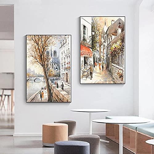 Pintura de lienzo de paisaje abstracto carteles nórdicos impresiones imágenes artísticas de pared para decoración de pared de sala de estar Mural-40x60cmx2 sin marco