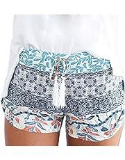 L9WEI Zomershorts voor dames, casual, korte broek met trekkoord, elastische losse sportbroek, print, strandbroek, mode, shorts, vrije tijd, strandbroek