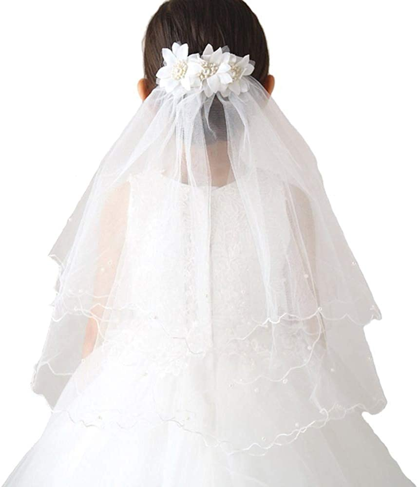 SlenyuBridal Girl's Two Layers First Communion Veils with Tiara Crown for Party