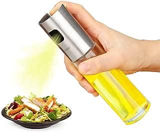 Olive Oil Sprayer, Food-Grade Stainless Steel Glass Vinegar Bottle Oil Spray Bottle Oil Dispenser Best for Cooking, BBQ, Salad, Kitchen Baking, Roasting