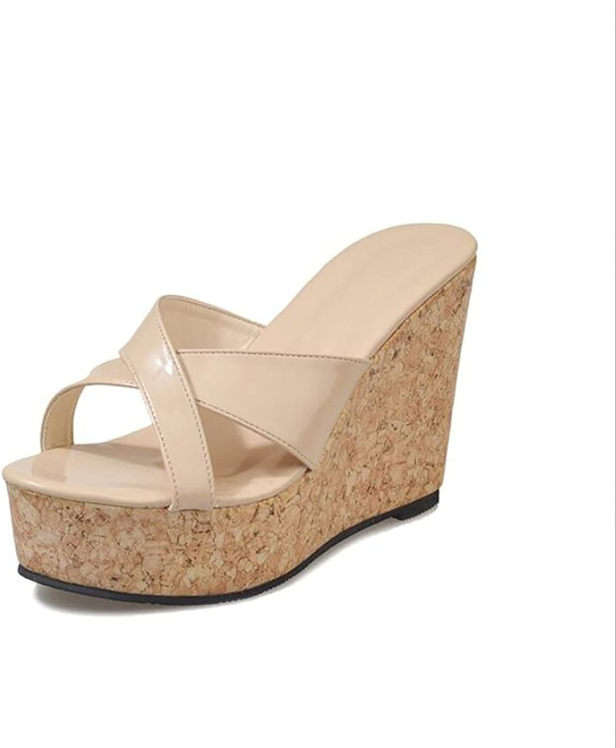 Summer Women's Comfy Slippers High Heels Wedge Platform Flip Flops Sandals,Beige,36