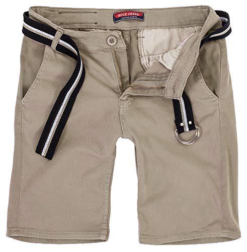 Rock Creek Herren Chino Shorts Hose Kurz Chinoshorts Inkl Gürtel Männer Sommer Bermuda Stretch Rc-2133 38 Apricot