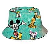 Bucket Hat Mickey and Donald Duck Bucket Sun Hat para Hombres Mujeres -Protección Gorra de Pescador de Verano Empacable para Pesca, Safari, Paseos en Bote en la Playa Negro-88Y
