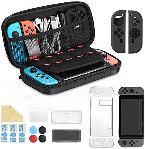 iAmer 11 in 1 Zubehör für Nintendo Switch, Tasche für Nintendo Switch and Transparent Hülle and 3 Displayschutzfolie and Silikon Tasche für Joy Con and Game Card Tasche
